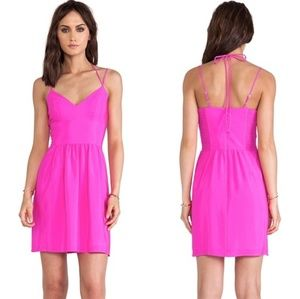 Revolve Amanda Uprichard Pink Silk Whenever Dress